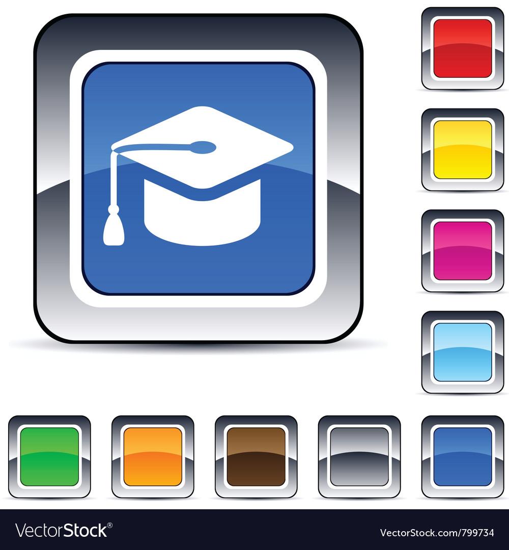 Graduation square button vector   Price: 1 Credit (USD $1)