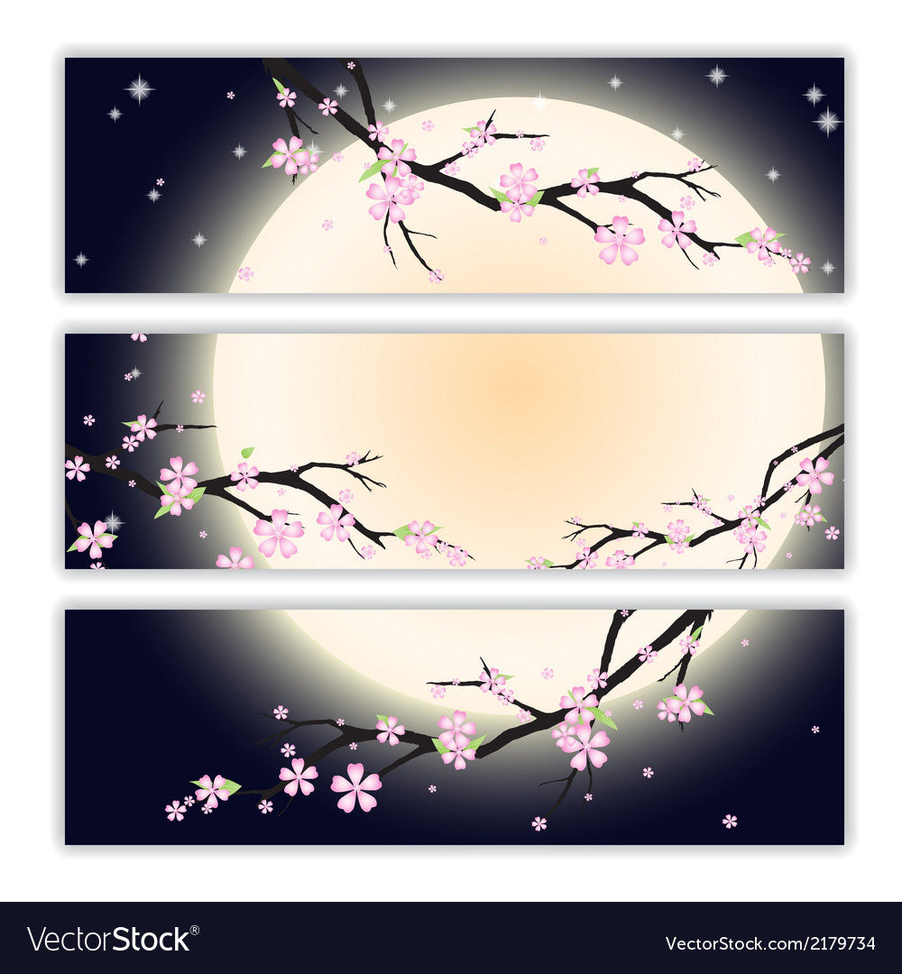 Invitation cards with stylized cherry blossom vector | Price: 1 Credit (USD $1)