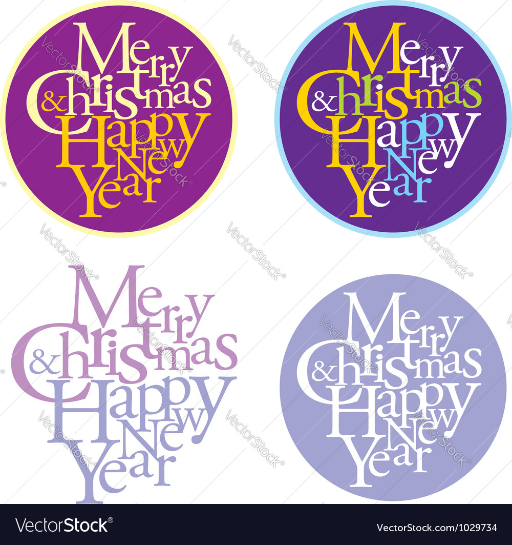 Merry christmas and happy new year logotype vector | Price: 1 Credit (USD $1)