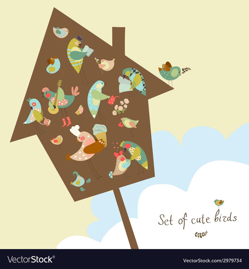 Set of cute birds in vector | Price: 1 Credit (USD $1)