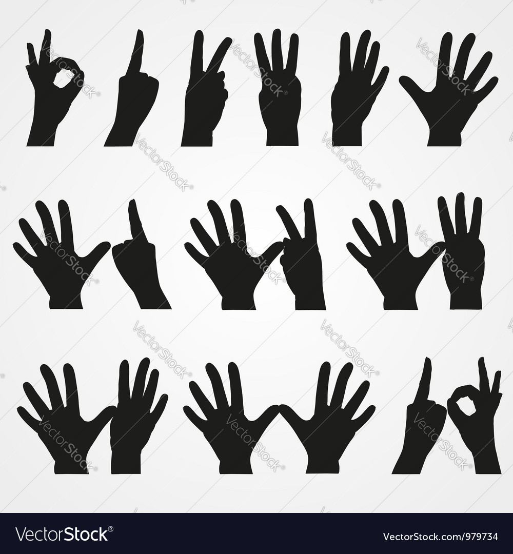 Set of of numbers in the form of hands vector | Price: 1 Credit (USD $1)