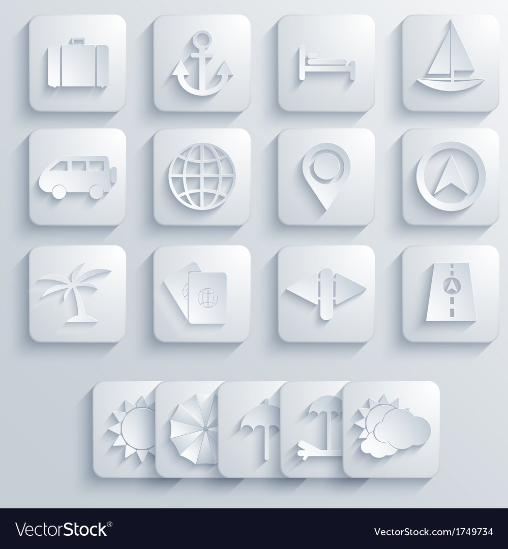 Travel icons set on blue background eps10 vector | Price: 1 Credit (USD $1)