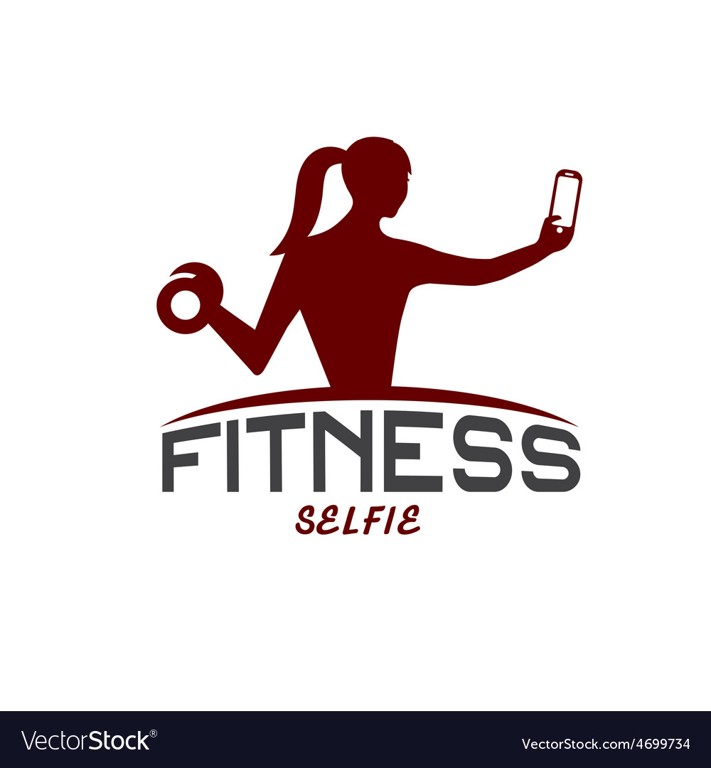 Woman of fitness silhouette character make selfie vector | Price: 1 Credit (USD $1)