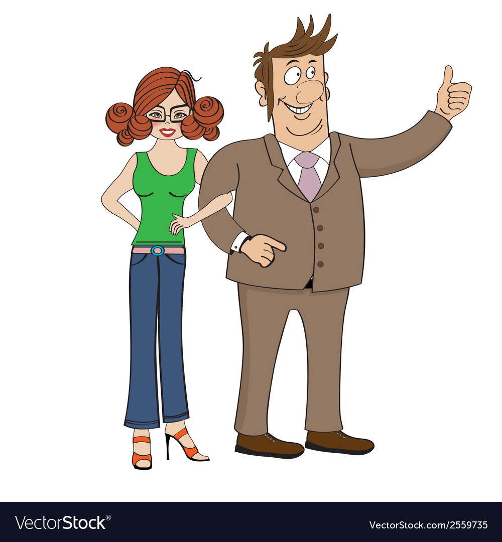 Business couple isolated on white background vector | Price: 1 Credit (USD $1)