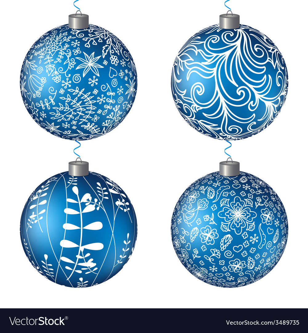 Christmas set blue balls background vector | Price: 1 Credit (USD $1)