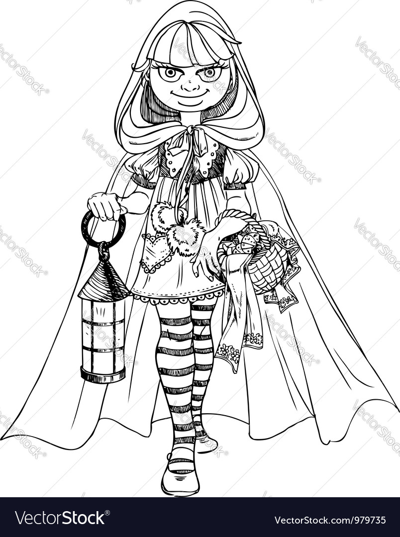 Cute little red riding hood with a basket of pies vector | Price: 1 Credit (USD $1)