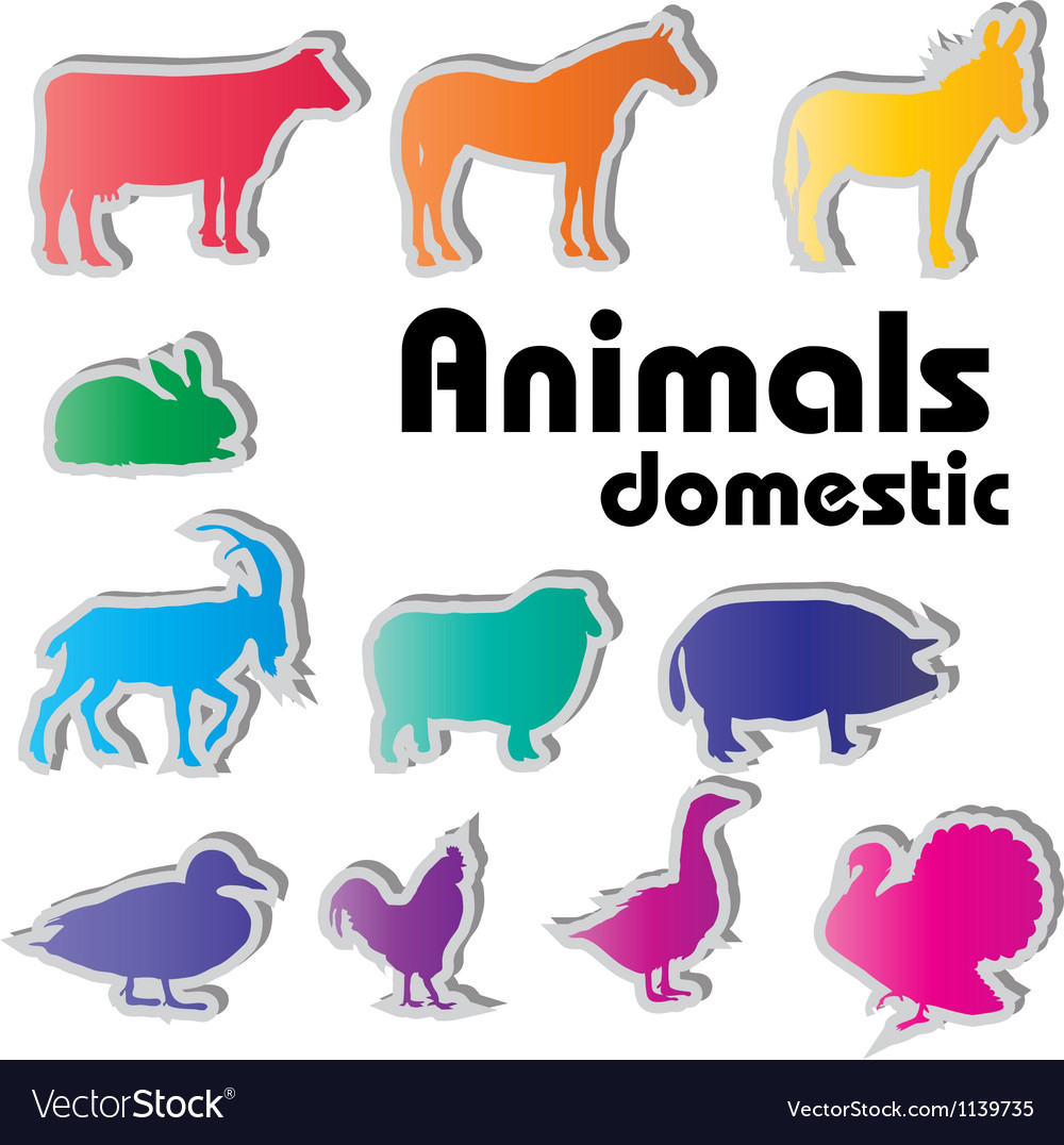 Domestic animals silhouettes vector | Price: 1 Credit (USD $1)