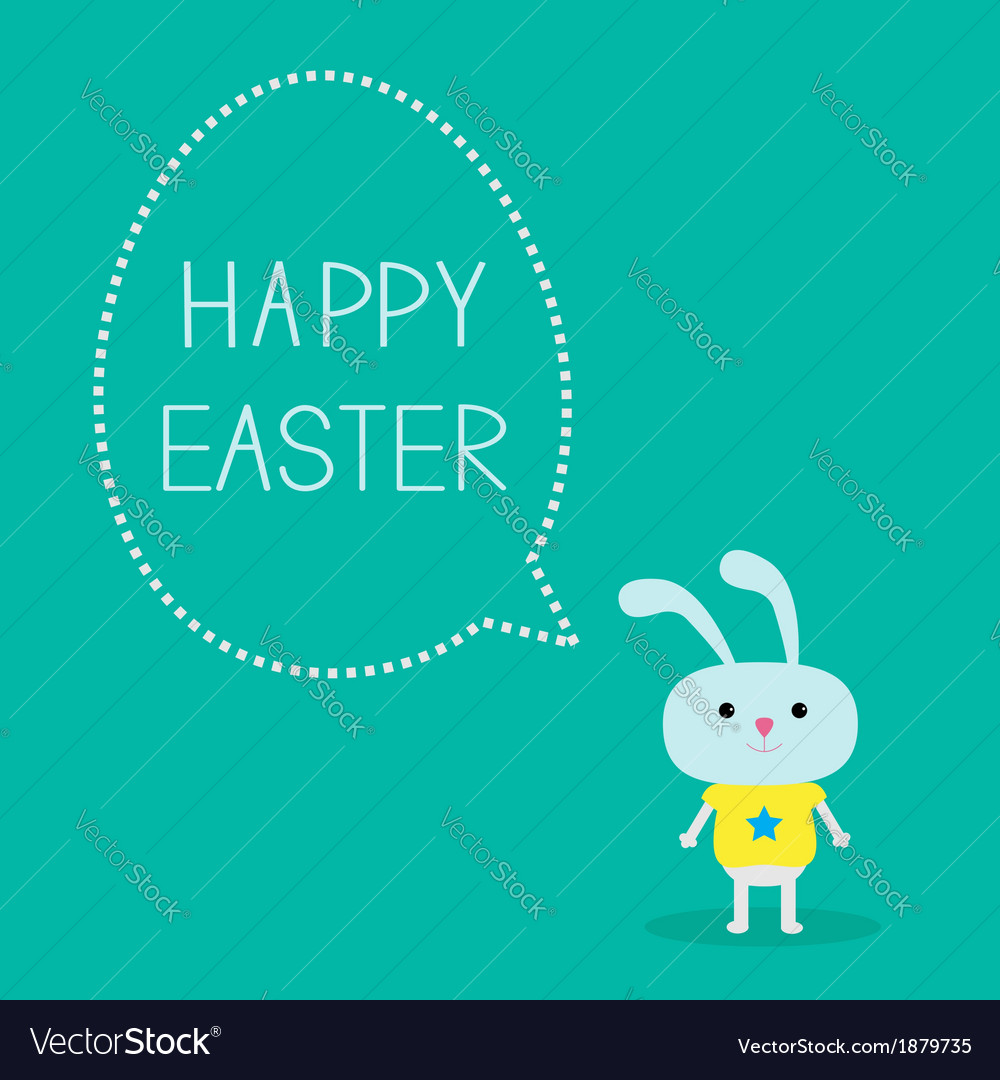 Easter bunny and dash line egg bubble card vector | Price: 1 Credit (USD $1)