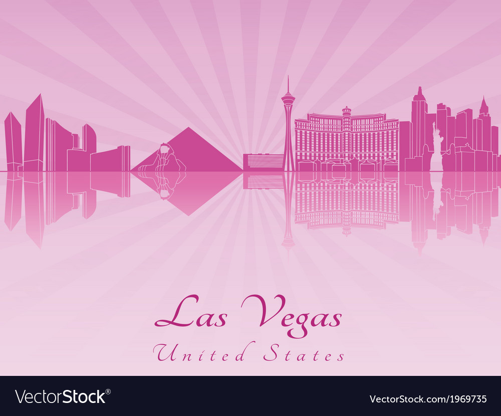 Las vegas skyline in purple radiant orchid vector | Price: 1 Credit (USD $1)