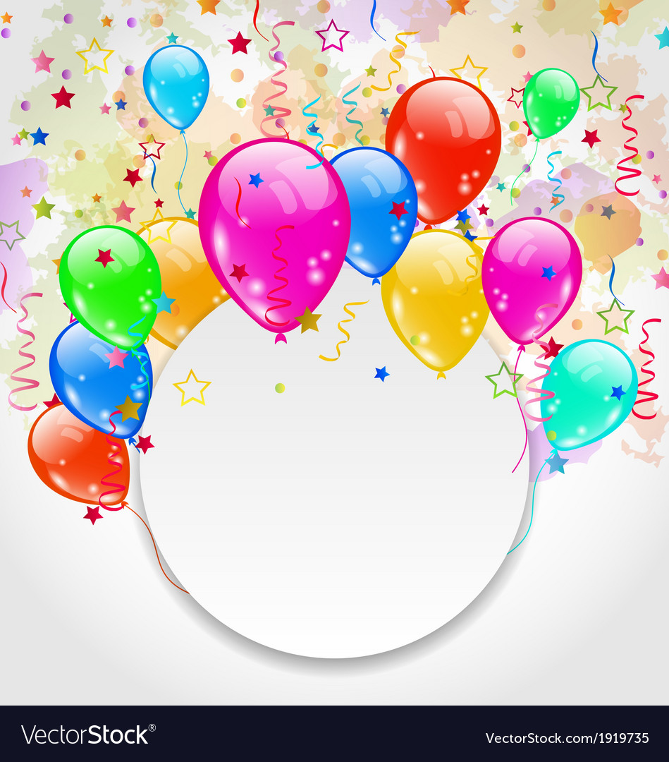 Modern birthday greeting card with set balloons vector   Price: 1 Credit (USD $1)