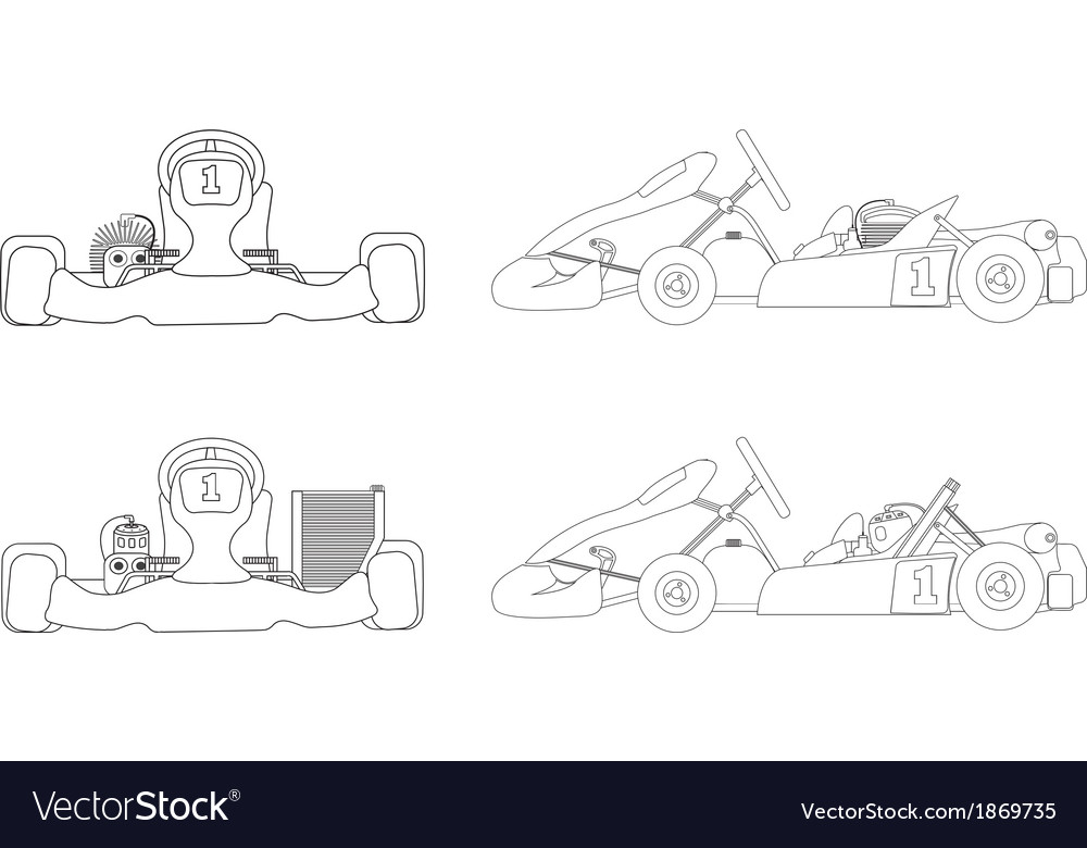 Outline karting vector | Price: 1 Credit (USD $1)