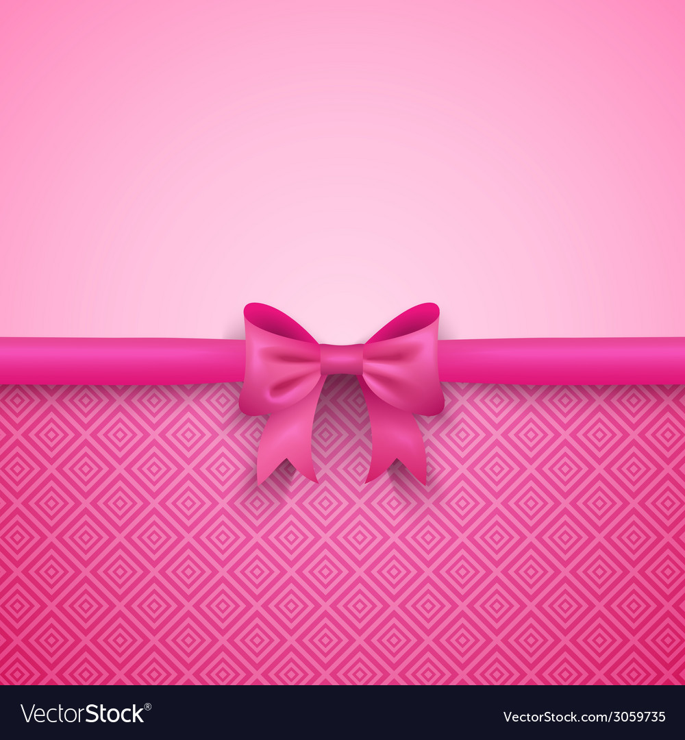 Romantic pink background with cute bow and pattern vector | Price: 1 Credit (USD $1)