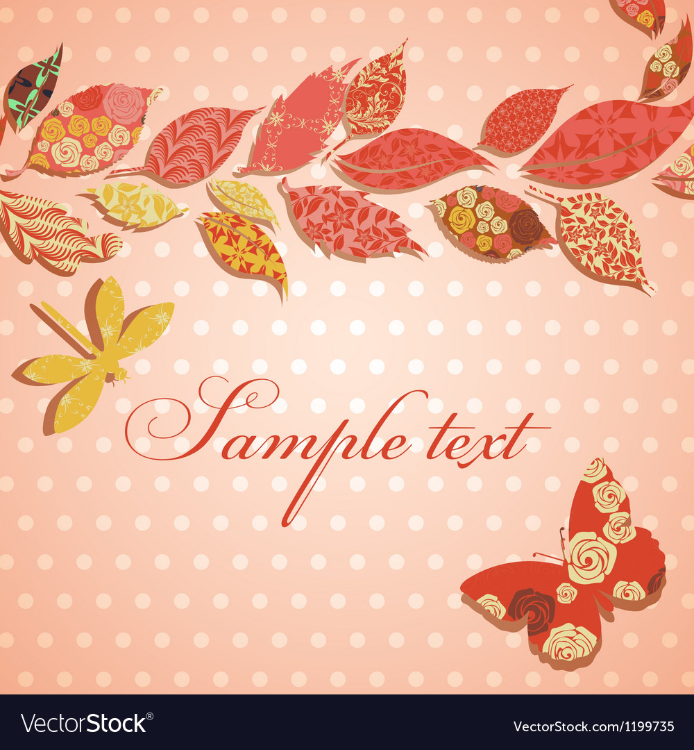 Vintage background with border of patch leaves vector | Price: 1 Credit (USD $1)