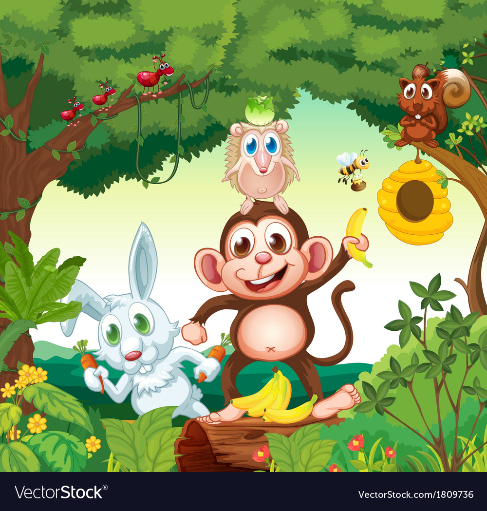 A group of happy animals at the forest vector | Price: 1 Credit (USD $1)