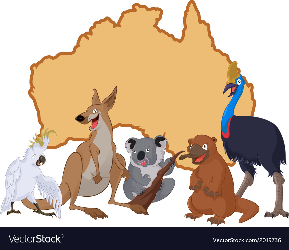 Australia with animals vector | Price: 3 Credit (USD $3)