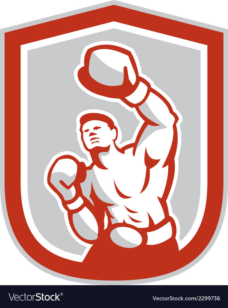 Boxer boxing jabbing front shield retro vector | Price: 1 Credit (USD $1)
