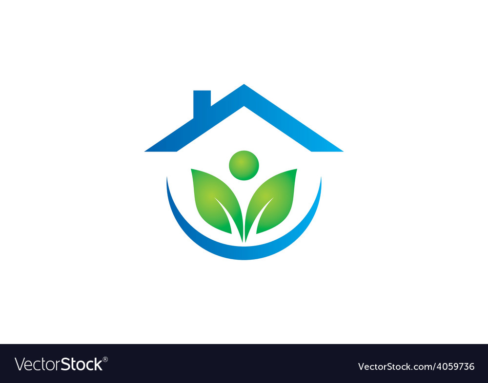Eco garden house ecology people logo vector | Price: 1 Credit (USD $1)