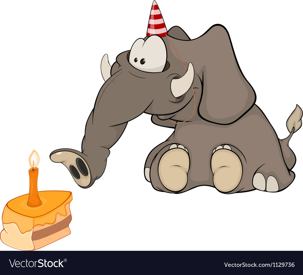 The elephant calf and a slice cake cartoon vector | Price: 1 Credit (USD $1)