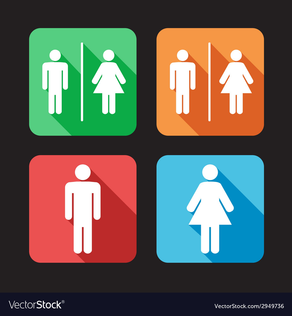 Flat toilet signs vector | Price: 1 Credit (USD $1)