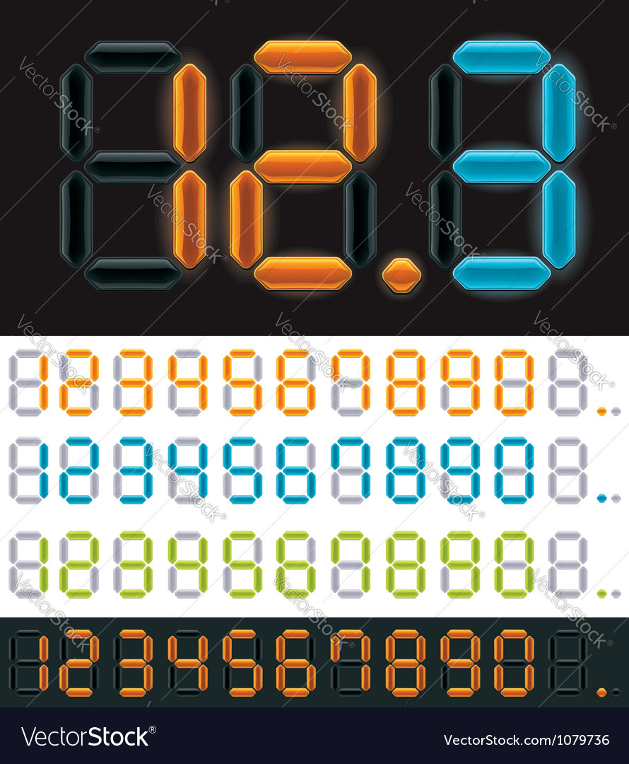 Neon digits vector | Price: 3 Credit (USD $3)