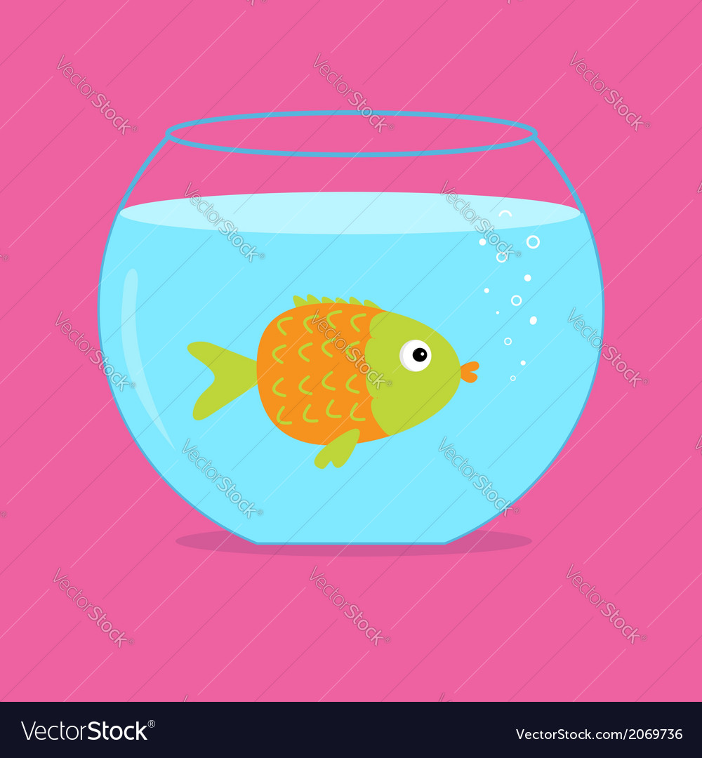 Orange fish in the aquarium card vector | Price: 1 Credit (USD $1)
