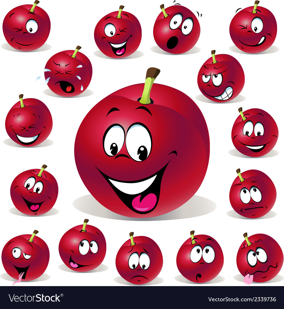 Red plum cartoon with many expressions vector | Price: 1 Credit (USD $1)