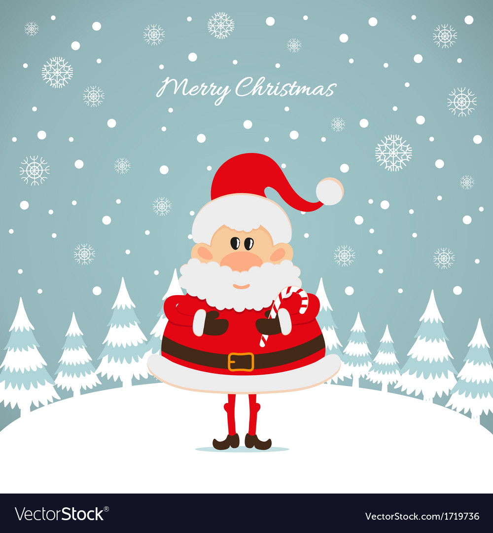 Santa claus with caramel cane the christmas card vector   Price: 1 Credit (USD $1)
