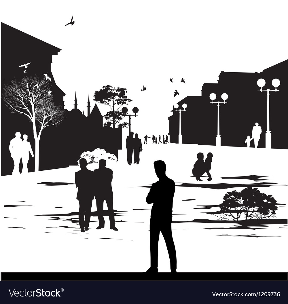 Silhouettes in city park vector | Price: 1 Credit (USD $1)