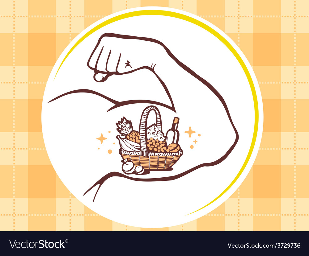 Strong man hand with icon of basket with vector | Price: 1 Credit (USD $1)