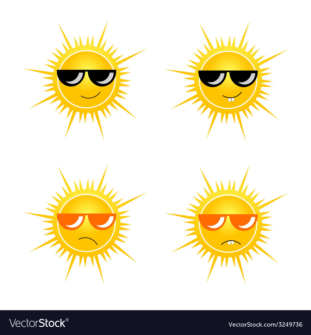 Sun with sunglass vector