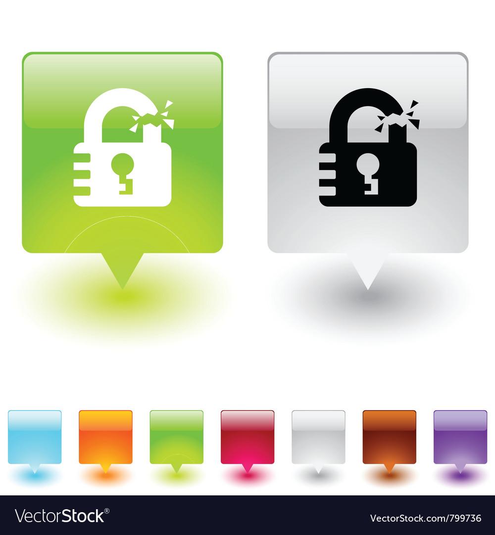 Unlock square button vector   Price: 1 Credit (USD $1)