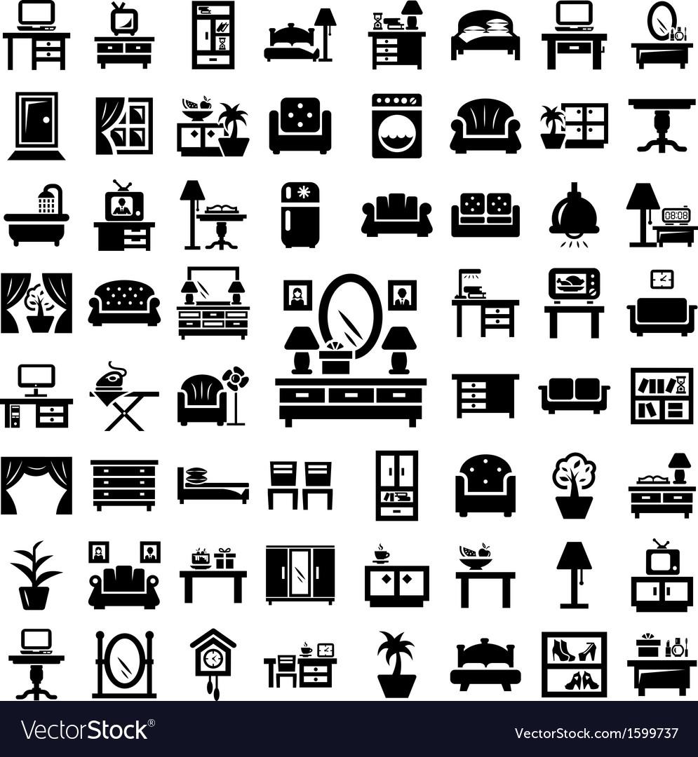 Big furniture icons set vector