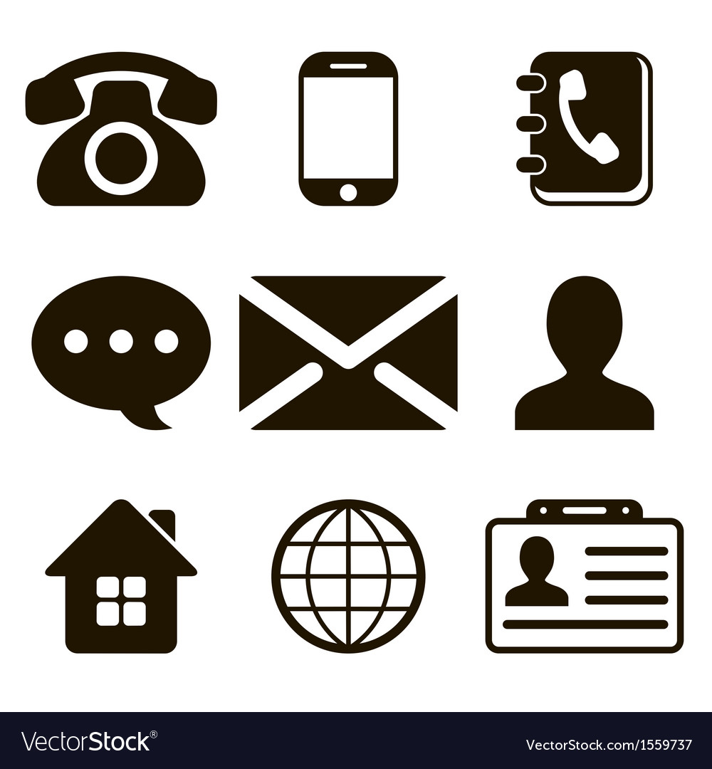 Contact icons set vector | Price: 1 Credit (USD $1)