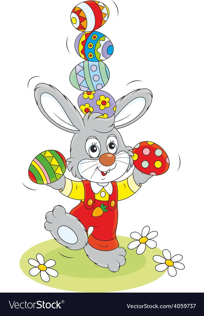 Easter bunny juggler vector | Price: 1 Credit (USD $1)