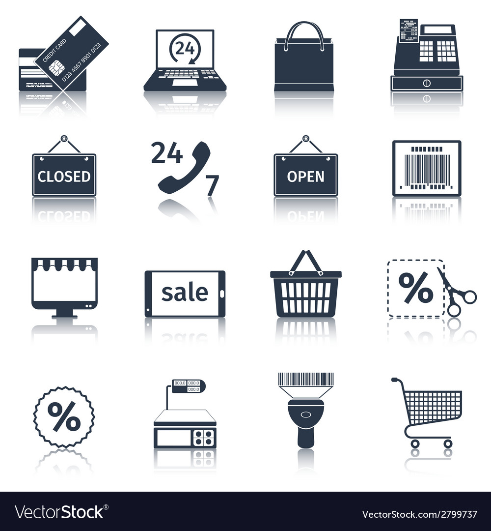 E-commerce icons set black vector | Price: 1 Credit (USD $1)