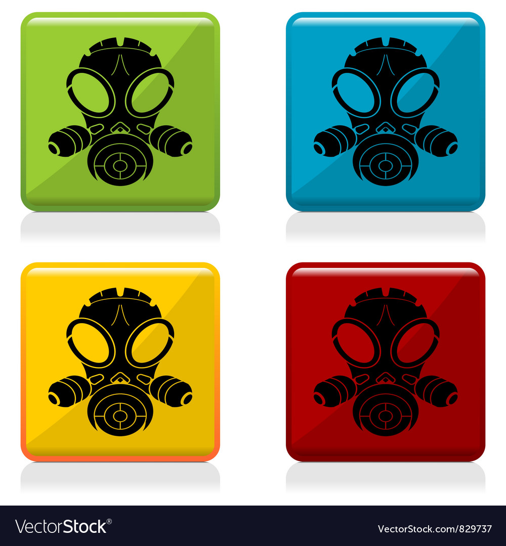 Gas mask sign buttons vector | Price: 1 Credit (USD $1)