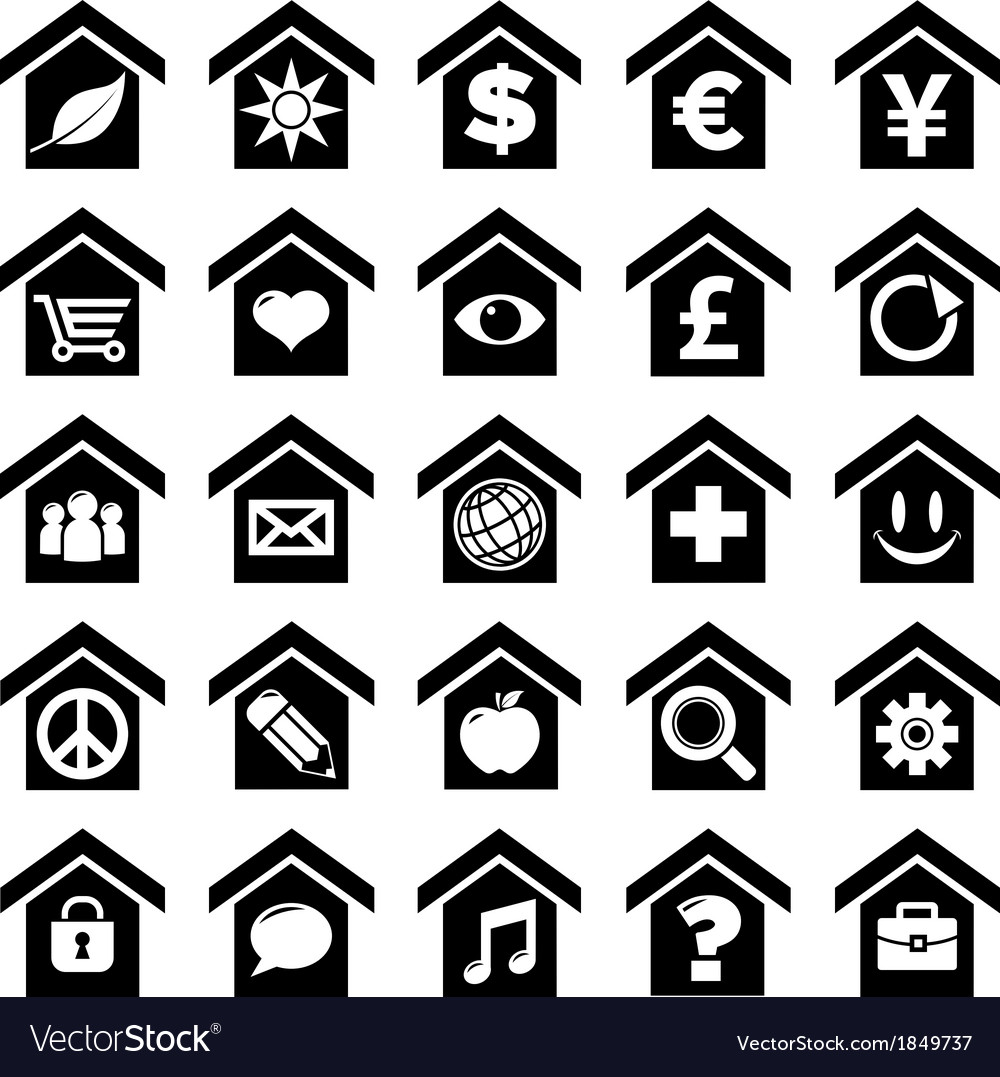 Home icons with symbols vector | Price: 1 Credit (USD $1)