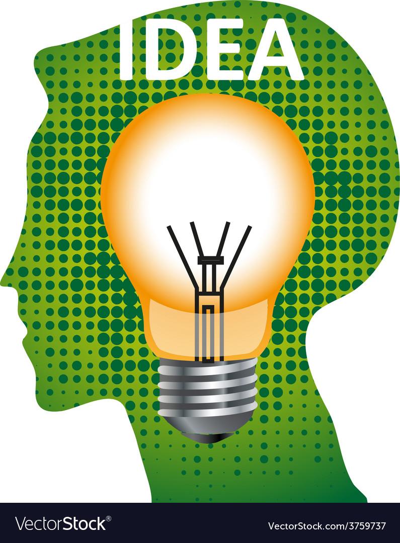 Idea mind bulb vector | Price: 3 Credit (USD $3)