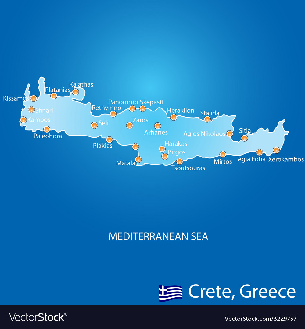 Island of crete in greece map vector | Price: 1 Credit (USD $1)