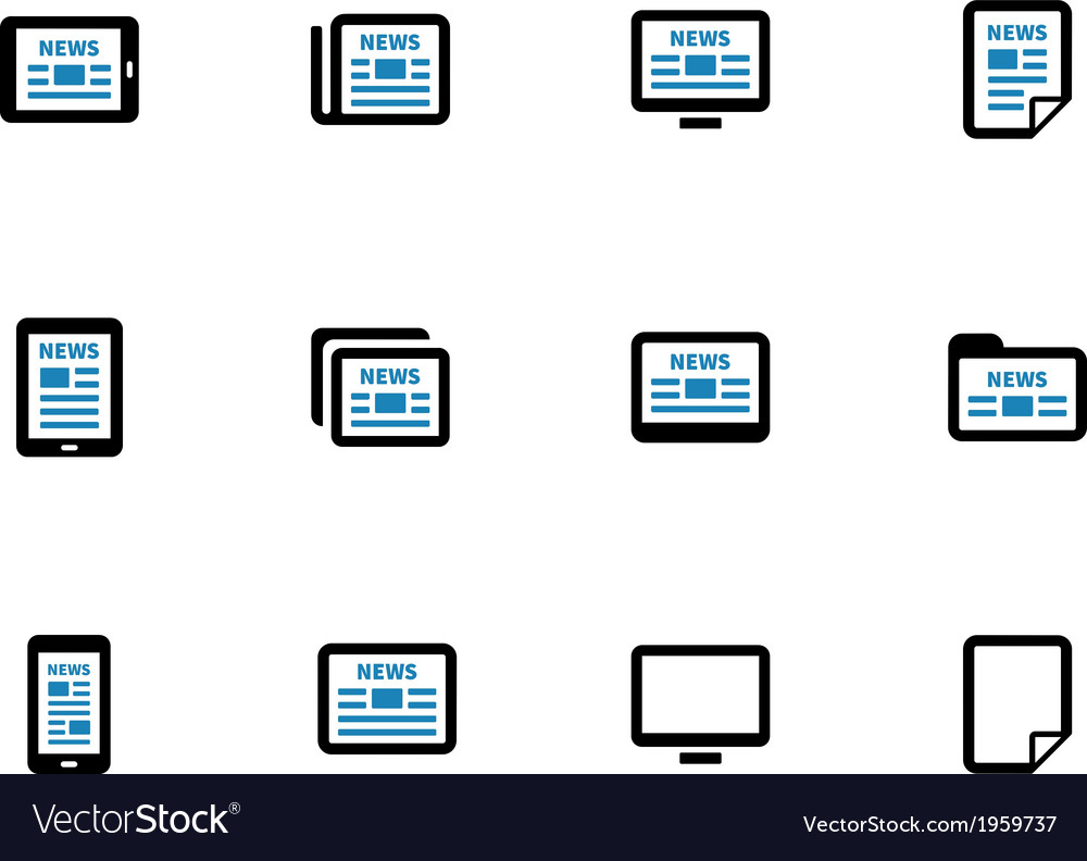 Newspaper duotone icons on white background vector | Price: 1 Credit (USD $1)