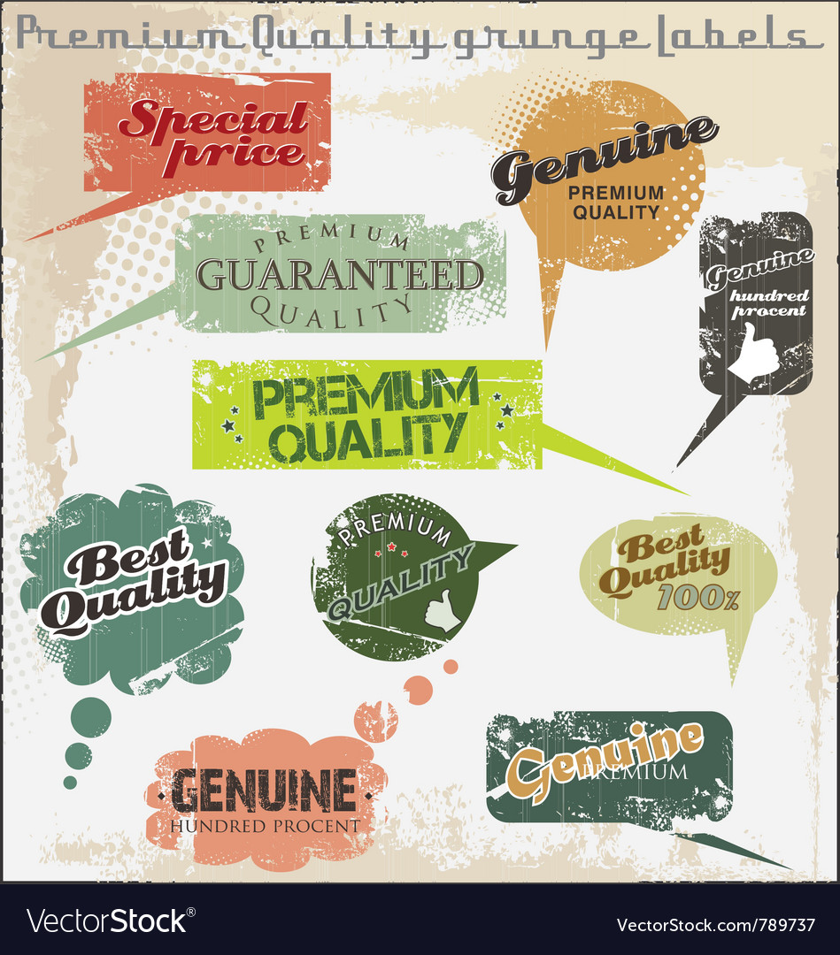 Premium quality and satisfaction guarantee labels vector | Price: 1 Credit (USD $1)