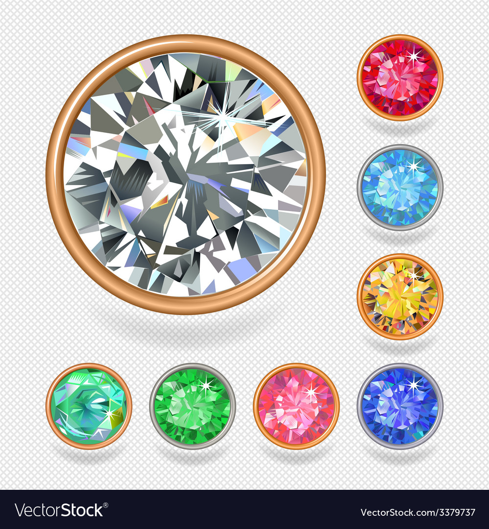 Round shape top view bezel colored gems vector | Price: 3 Credit (USD $3)