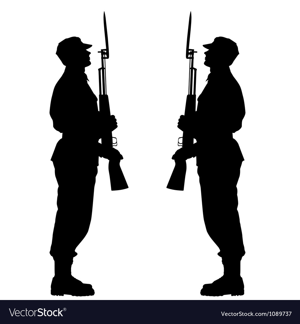 Silhouette soldiers during a military parade vector | Price: 1 Credit (USD $1)