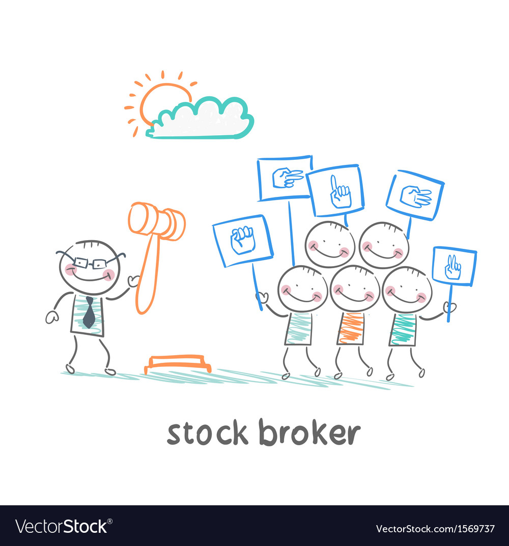 Stock brokers buy stocks vector | Price: 1 Credit (USD $1)