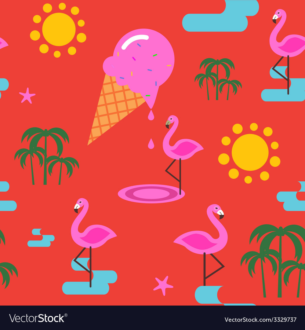 Summer seamless print with flamingo and ice cream vector | Price: 1 Credit (USD $1)