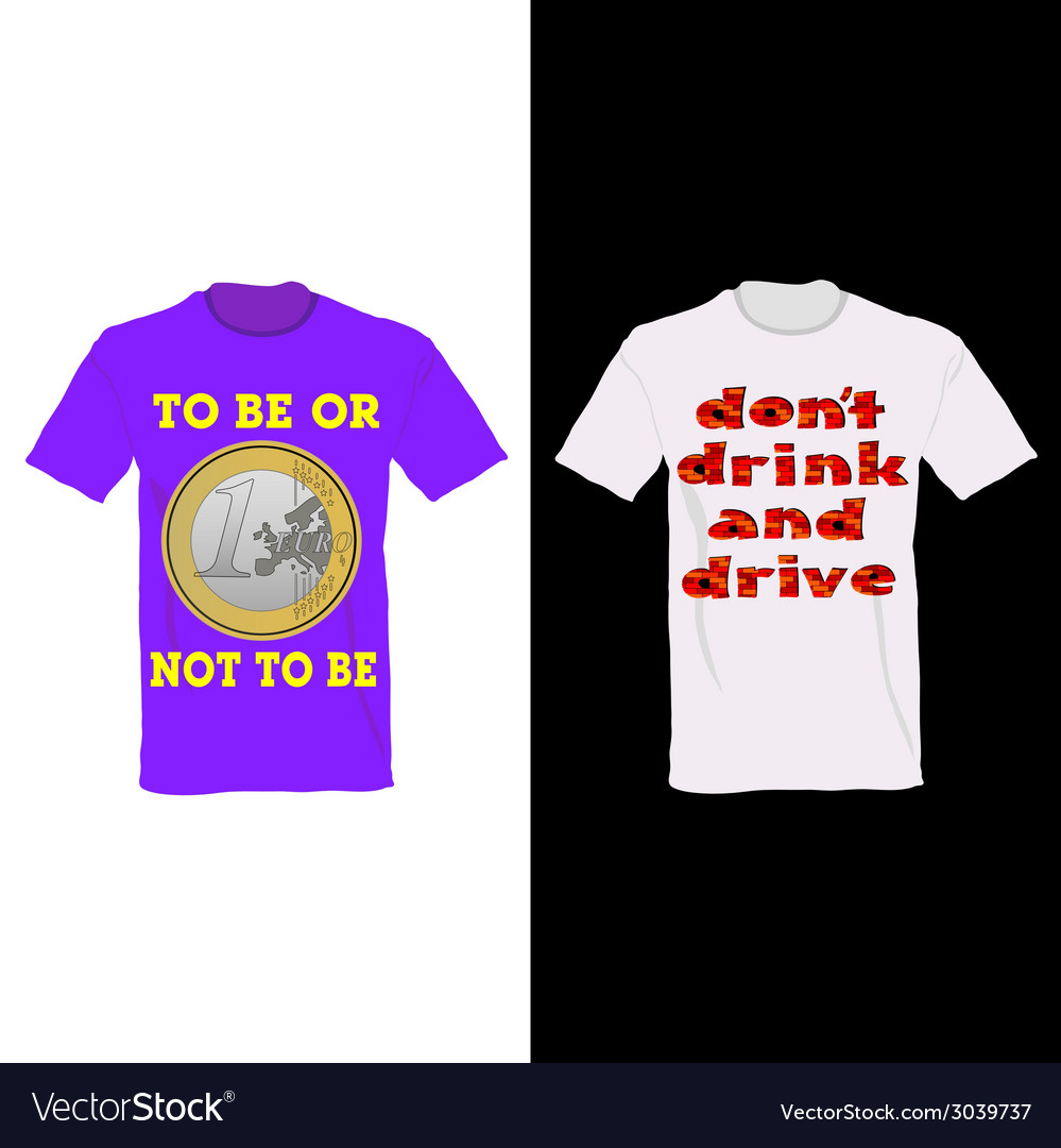 T-shirt in two color with one euro and message for vector   Price: 1 Credit (USD $1)