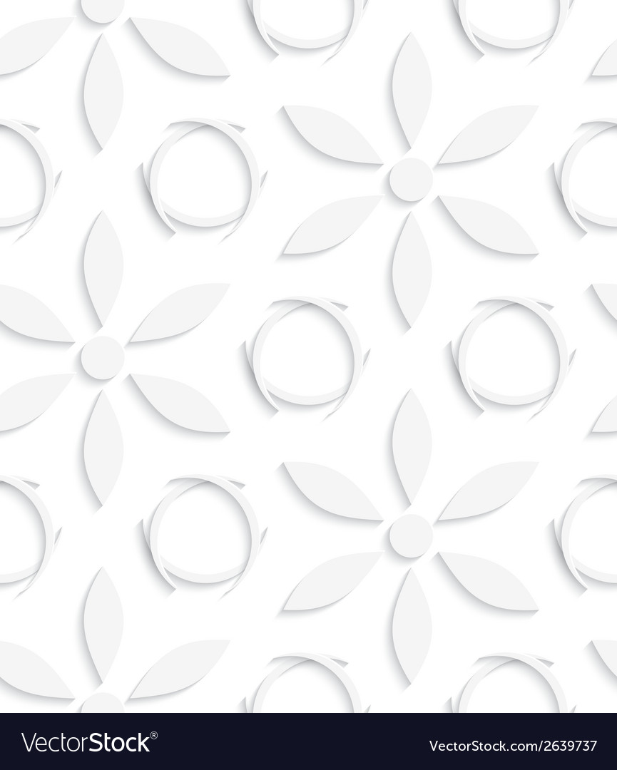 White flowers and circles seamless vector | Price: 1 Credit (USD $1)