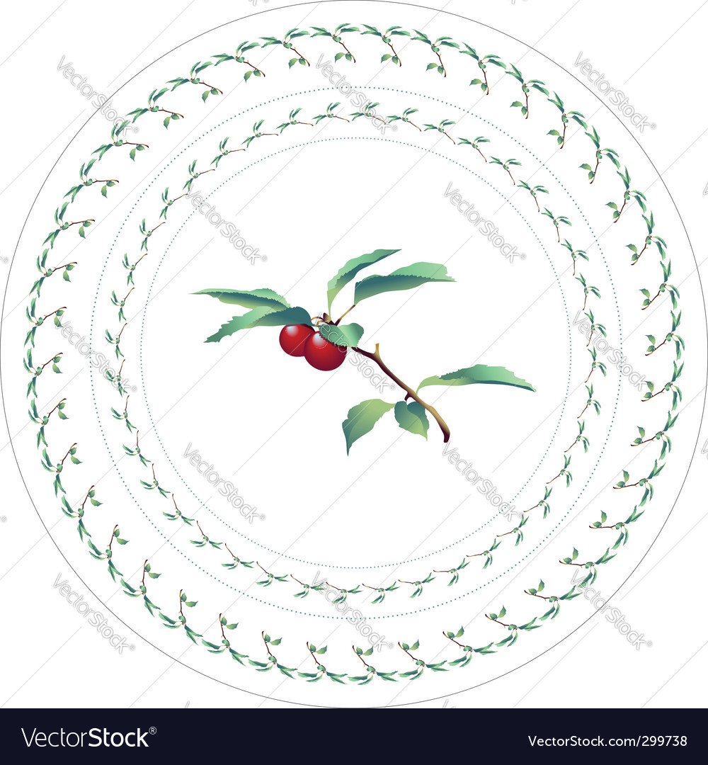 Cherries decorative pattern for plate vector | Price: 1 Credit (USD $1)