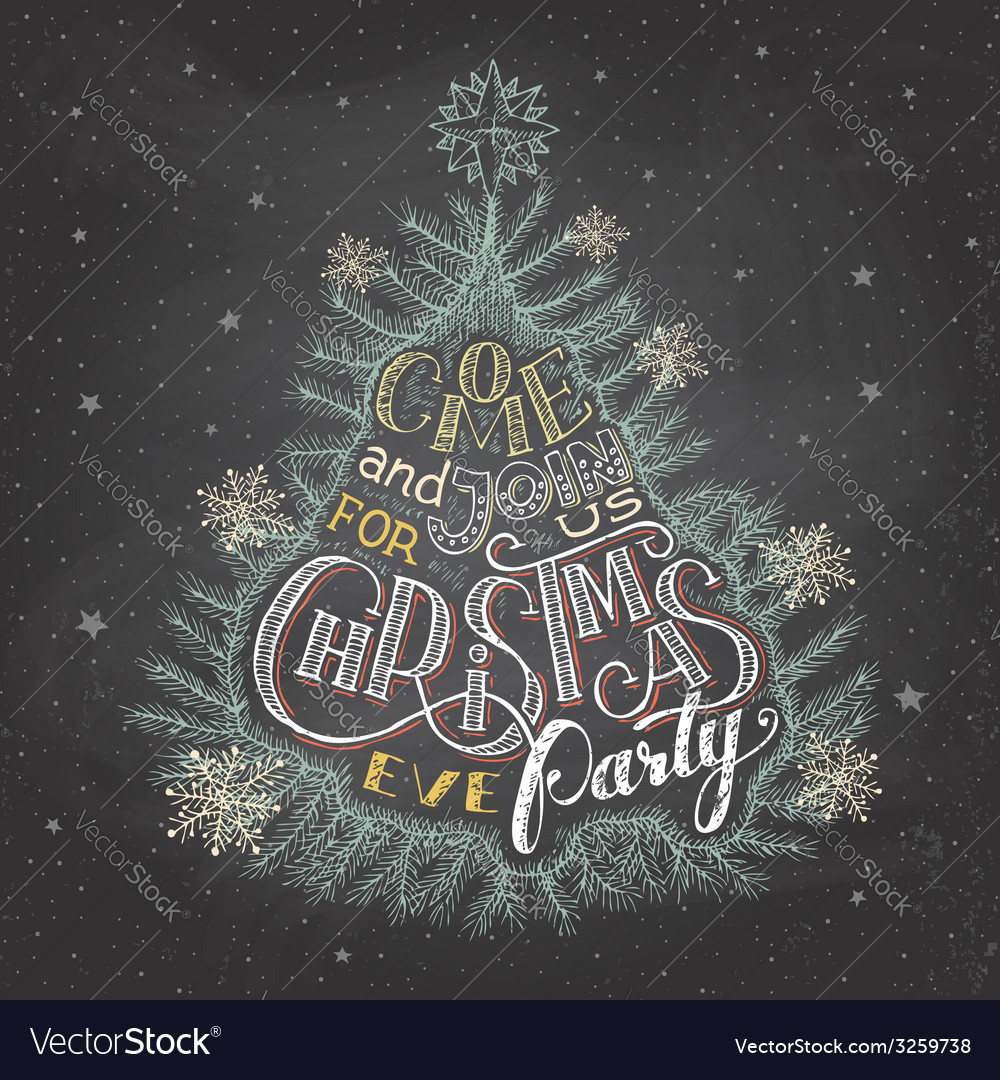 Christmas eve party invitation chalkboard vector | Price: 3 Credit (USD $3)