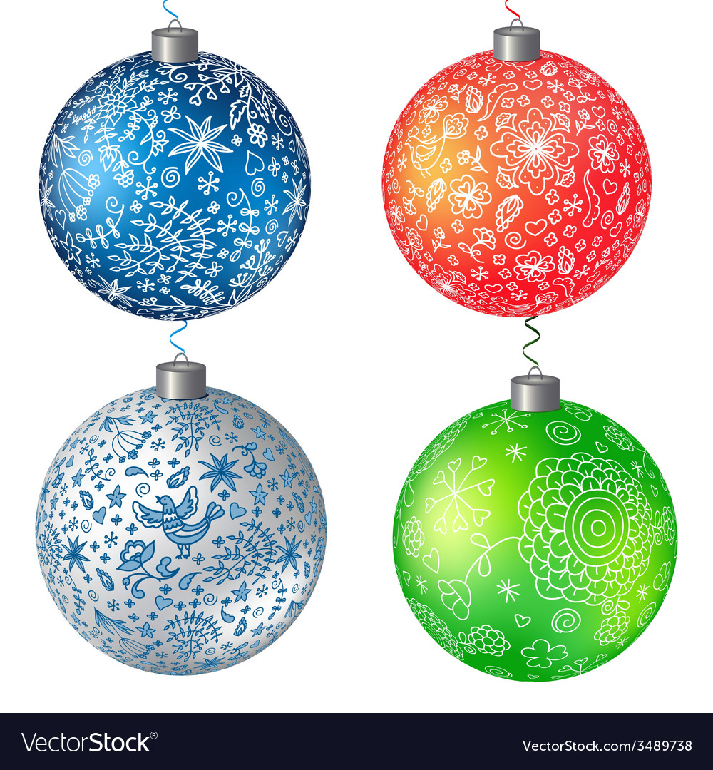 Christmas set balls background vector | Price: 1 Credit (USD $1)